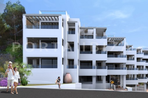 New built apartments on the beach of Cala...