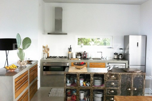 kitchen-wonderful modern villa-magnificent setting-Na Xamena