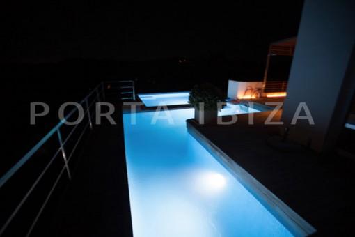 pool at night-wonderful modern villa-magnificent setting-Na Xamena