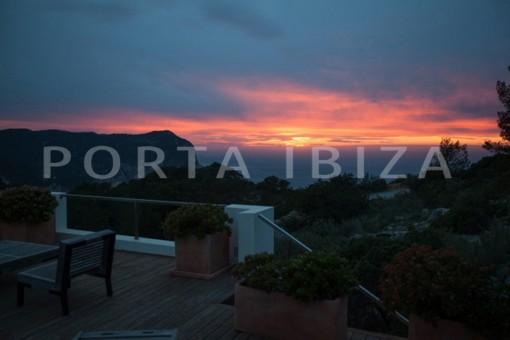 sunset terrace-wonderful modern villa-magnificent setting-Na Xamena