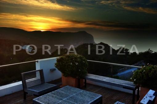 sunset terrace-wonderful modern villa-Na Xamena