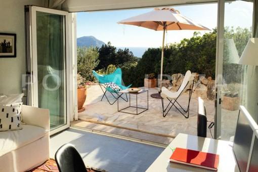 terrace guestroom-wonderful modern villa-magnificent setting-Na Xamena