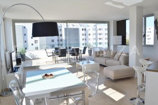 livingroom-beautiful apartment-Botafoch-sea views