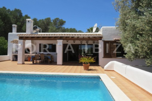 pool area-high quality country house-Es Cubells-fabulous landscape views