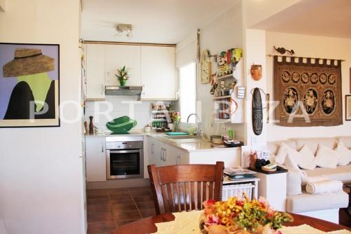 kitchen area-beautiful house at Sa Carroca