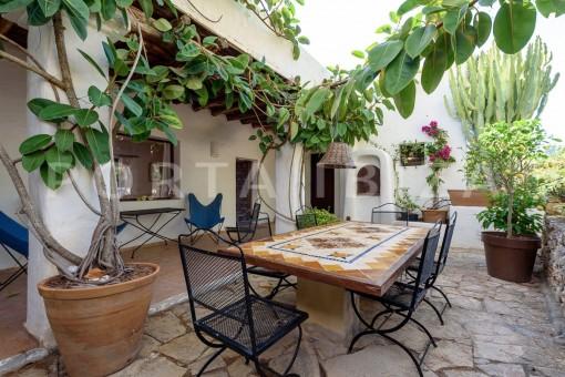 dinner in the backyard-incredible property-fabulous panoramic views-Es Vedra