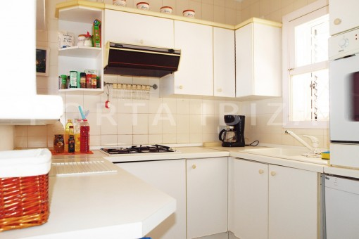 kitchen downstairs-charming house-Cala Codolar-views to Es Vedra