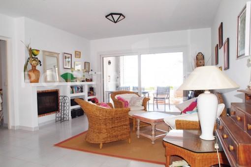 livingroom downstairs-charming house-Cala Codolar-views to Es Vedra
