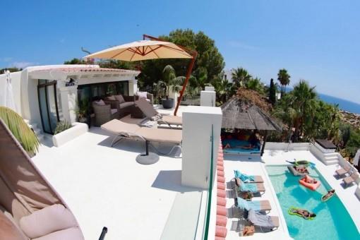 Impressive balcony of the villa