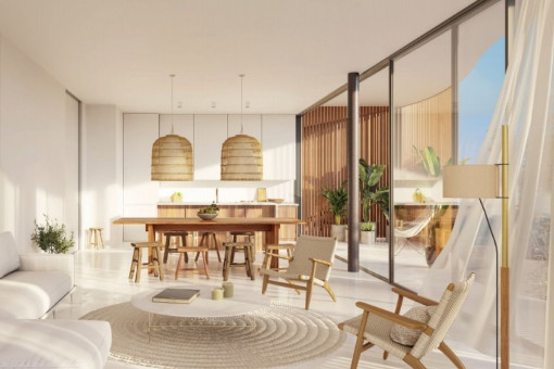 Open kitchen and dining area