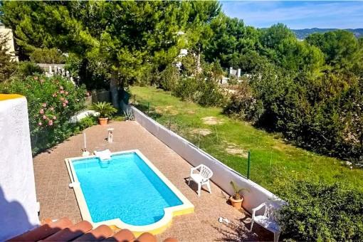 Sunny pool area of the finca