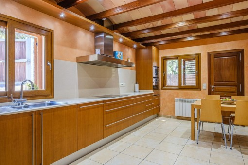 Ceiling with wooden beams of the kitchen