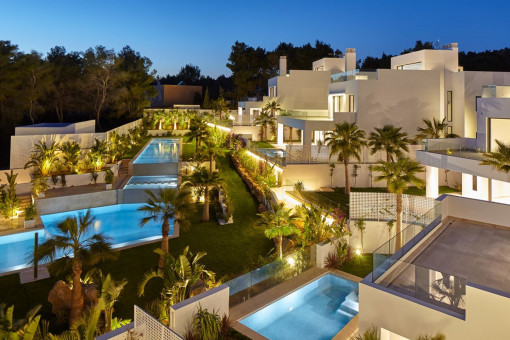 Villa complex by night