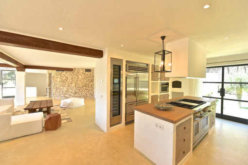 Open living area and kitchen